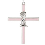 "6.50""H Pink Baby Cross from the Caroline Collection. Made of zinc alloy and lead free."