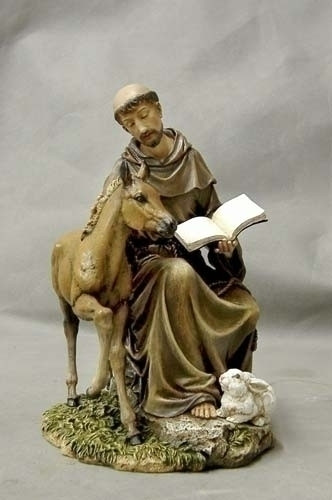 """Saint Francis with Horse, Rabbit, and Book Statue. Patron Saint of Animals & Ecology. Dimensions: 8.5""""H X 5.25""""W X 5.75""""D. Materials: Resin/Stone Mix"""