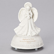 """This enchanting Heaven's Treasure Baptism figurine does double duty as a beautiful remembrance of the Baptism and a music box, promising to lull your newborn to sleep to the tune of """"Children's Prayer."""" Heaven's Treasure Music Box stands 5"""" tall and is 3.5"""" in diameter. The figure is made of porcelain."""