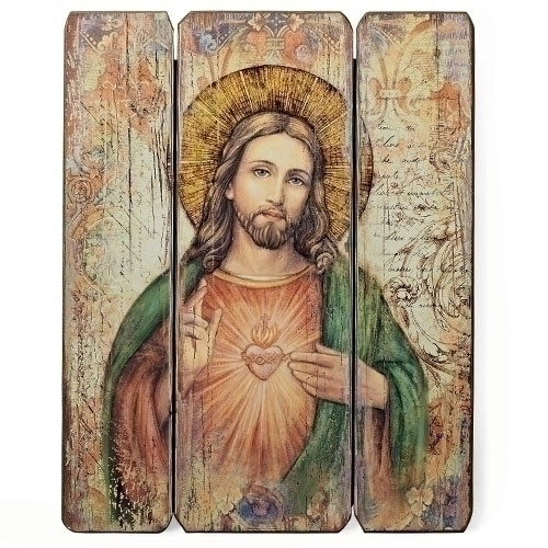 """Sacred Heart of Jesus Decorative Wall Panel. The Sacred Heart of Jesus wall panel is 15""""in height. The panels are made of a medium density fiberboard."""