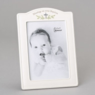"Blessings on Your Baptism Picture Frame! This blessings picture frame measures 9.25"" in height. The blessings baptism frame holds a 5'X 7"" picture. The picture frame is made of a resin/stone mix."