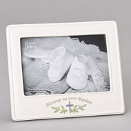 "Blessings on Your Baptism 6""H Picture Frame! This blessings picture frame measures 6"" in height. The blessings baptism frame holds a 4""X 6"" picture. The picture frame is made of a resin/stone mix.  Blessings on your Baptism is written across the bottom of the frame."