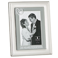 "From the Caroline Collection comes this 25 Years Together Wedding Anniversary frame. This zinc alloy 25 year anniversary picture frame hold a 4"" x 6"" photo and is 8 1/2"" in height. Lead Free"
