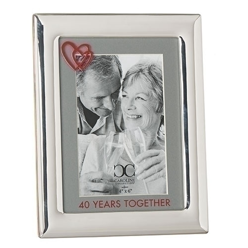 "From the Caroline Collection comes this 40 Years Together Wedding Anniversary picture frame. This zinc alloy 40 year anniversary frame holds a 4"" x 6"" photo and is 8 1/2"" in height. Lead Free"