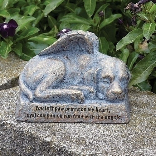 """6""""L Dog with Wings Statue. From the Joseph Studios comes this 6"""" length resin/stone mix Dog with Wings statue. Along the bottom of the statue are the words: """" You left paw prints on my heart, loyal companion run free with the angels."""""""