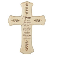 "10.25"" Serenity Wall Cross.  This 10.25"""" wall cross has the Serenity Prayer written on it in its entirety. There are decorative  leaves on the outside edges of the cross.  Cross is made of a resin/stone mix."