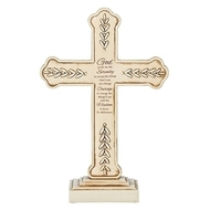 "8.25"" Serenity Prayer Standing Cross.  This 8.25"""" standing cross has the Serenity Prayer written on it in its entirety. There are decorative  leaves on the outside edges of the cross.  Cross is made of a resin/stone mix."