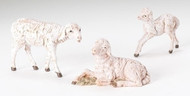 Fontanini Three (3) Piece Sheep Family for 5in Scale nativity sets. Made of Polymer. Comes in a gift box