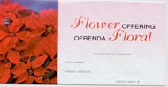 """Ofrenda Floral"" Sobres Ofrenda Florales de Navidad Estándar (3 1/8 ""x 6 1/4""). Precio por 100  Image of floral offering envelopes with an image of poinsettias, and sections for ""In Memory Of"", ""Name"", ""Address"", and ""Amount"" translated in both English and Spanish."