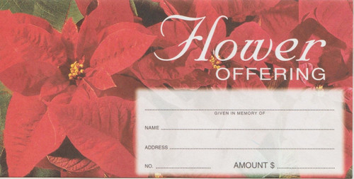 "Standard Christmas Flower Offering Envelopes (3 1/8"" x 6 1/4""). Sold and Priced per 100"