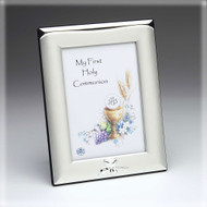 Remember your child's First Communion by displaying their picture in this elegant silver and silver-plated photo frame. This inspirational frame measures 6-1/2 inches tall and holds a 3-1/2 x 5 inch photo. The First Communion frame has a chalice design embossed in the bottom edge of the frame as a further indication of what special occasion is memorialized in the photo. Name and Date ONLY