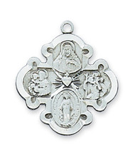 "Sterling Silver 1"" 4-Way Medal. 20"" Rhodium Plated Continuous Chain. Deluxe Gift Box Included"