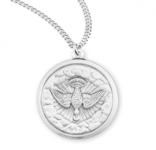 "Round Sterling Silver Holy Spirit Medal. Holy Spirit Medal is a Solid .925 Sterling Silver. Holy Spirit Medal comes on a 20"" genuine rhodium plated curb chain in a deluxe velour gift box. Dimensions: 1.0"" x 0.9"" (25mm x 22mm). Made in the USA"
