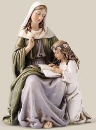 "7""H St Anne Statue. Patron Saint of Mothers.  Resin/Stone Mix.  Dimensions:  7""H x 5""W x 4.25""D."