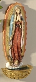 "Our Lady of Guadalupe Holy Water Font 7.5"". Materials: Resin/Stone Mix. Dimensions: 7.38""H x 3.125""W x 2""D"
