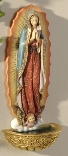 """Our Lady of Guadalupe Holy Water Font 7.5"""". Materials: Resin/Stone Mix. Dimensions: 7.38""""H x 3.125""""W x 2""""D"""
