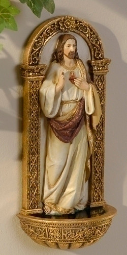 "7.5"" Sacred Heart of Jesus Font. Resin/Stone Mix. Dimensions: 7.125""H x 3.125""W x 2""D"