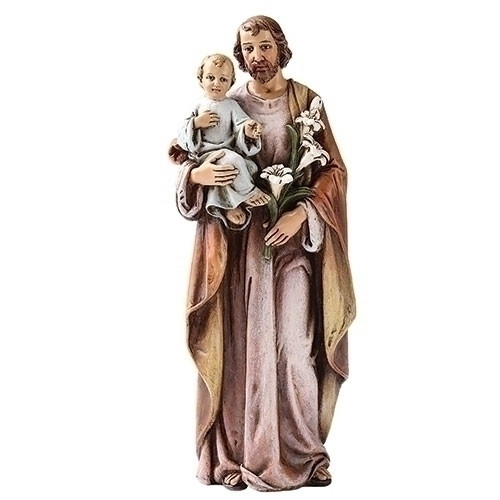 """25"""" Saint Joseph holding the Christ Child. Statue is made of a resin/stone Mix. St Joseph is the Patron Saint of Families and Carpenters. Dimensions: 29""""H x 9.25""""W x 6.75""""D"""