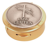 Brass with pewter 'Low Gluten' medallion. 1-1⁄2˝ x 1⁄2˝. 8 host cap. Use with burse K-3102