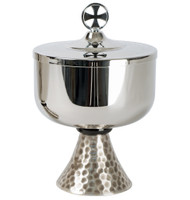 "Stainless steel cup with black delrin node. Silver plated hammered finish on base. 7""H., 4-1/2"" dia. cup, 400 host cap."