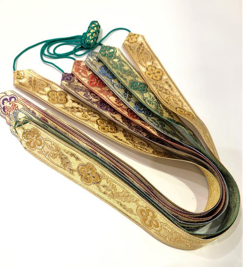 Beautiful extra long Sacramental Book Ribbon Markers. Markers are embroidered satin and silk. All liturgical colors are represented. Imported from Italy.