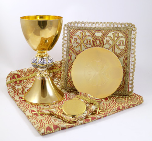 Limited Edition  6 Piece Set! 24K Gold with Silver ChiRho Node Set comes with Chalice and Paten, Pall, Pyx and Burse. Bag to carry all items. Please see close up pictures