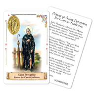 "Prayer to St. Peregrine, Patron Saint of Cancer. This beautiful patron saint card is laminated with gold foil embossed medal design with appropriate prayer on reverse side. Prayer card is made in Milan, Italy.  Measures: 2 3/8 x 3 1/2""."
