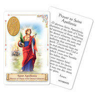 "Prayer to St. Apollonia Holy Card. Patron Saint of Dental Ailments.  This beautiful patron saint card is laminated with gold foil embossed medal design with appropriate prayer on reverse side. Prayer card is made in Milan, Italy.  Measures: 2 3/8 x 3 1/2""."