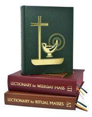 The Lectionary for Weekday Masses from contains the complete Weekday Lectionary in liturgical use in the Catholic Church. The three magnificently illustrated volumes of the Weekday Lectionary include the Weekdays for Years I and II, Proper and Common of Saints, and Ritual and Votive Masses. Large, bold, easy-to-read type; a user-friendly layout that eliminates unnecessary page-turning; and over 20 beautiful liturgical drawings providing a pictorial introduction to each main section make this Weekday Lectionary invaluable to Ministers of the Word. Each volume of the Lectionary for Weekday Masses features ribbon markers, enabling the Lector or Gospel Reader to find the options quickly. With their durable, attractive binding, the 3 volumes of the Lectionary for Weekday Masses will stand up to daily use and last for many years.