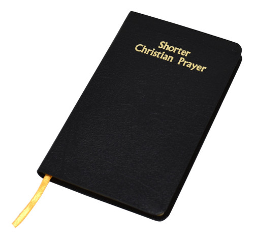 """Shorter Christian Prayer is an abbreviated version of the internationally acclaimed Liturgy of the Hours containing Morning and Evening Prayer from the Four-Week Psalter and selected texts for the Seasons and Major Feasts of the year. Printed in two colors, Shorter Christian Prayer includes handy ribbon markers and gilded page edging, and is bound in flexible black bonded leather. Its handy, practical size (4-3/8"""" x 6-3/4"""") makes Shorter Christian Prayer ideal for parish use. Also available in Large Print See item #418/10"""