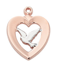 """Two - Tone Sterling Silver rose gold dove medal. Medal comes on an 18"""" chain. A deluxe gift box is included. Made in the USA!"""