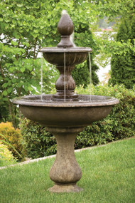 "Two tiered 67"" Vincenza Fountain.  67"" H x 40""W x 14""BD. Shown in Everglade Stone."