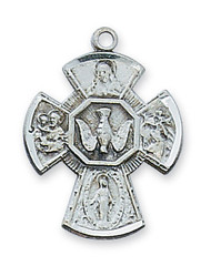 "Sterling Silver  7/8"" 4-Way Medal on an 18""rhodium plated chain.  Deluxe Gift Box Included. Made in the USA!"