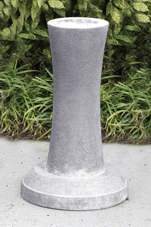 "Cast Stone Contemporary Pedestal . Measurements: Height:26"" Top Diameter :9"" Base Diameter:16"". Weight: 102 lbs. Made to order.... Allow 3-4 weeks for delivery. Made in the USA! Pedestal shown in Old Stone"