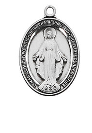 """1"""" Sterling Silver Miraculous Medal. Medal comes on an 18"""" rhodium chain and a deluxe gift box is included."""