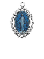 "1"" Sterling Silver Blue Epoxy Miraculous Medal. Medal comes on an 18"" rhodium  chain.  A deluxe gift box is included. Made in the USA"