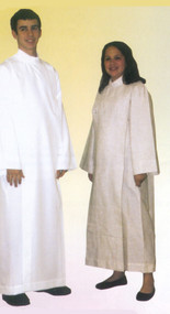 Front Wrap Cassock Albs for Boys & Girls. Now Celebrants and Altar Servers can wear coordinating Albs. Style Number 557: 100% Polyester Linen Weave Pure White - Matches the 222 Alb.