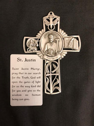 Pewter Cross with raised figures of St. Justin, Lamb, Bible and Holy Spirit. Prayer card included. Comes in a gift box.