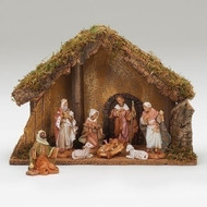 "Fontanini Nativity 8 Piece, 5in Scale Nativity. This 8 Piece Fontanini Nativity comes with an Italian Stable made of wood,moss, bark and polymer. Stable measurements are: 11.22""H X 15.75""W X 7.85"