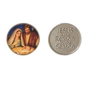 "2 piece Holy Family - Jesus is the Reason Coin. Made of zinc alloy. 1 1/8"" diameter"