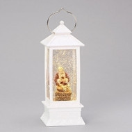 "Kneeling Santa 11""H LED Swirl White Lantern. Battery operated. Made of Plastic, batteries included."