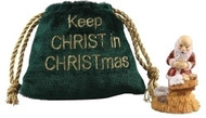 "Kneeling Santa in a Velvet Bag.  Kneeling Santa comes in a velvet bag that says ""Keep the Christ in Christmas. Made of a resin/stone mix."