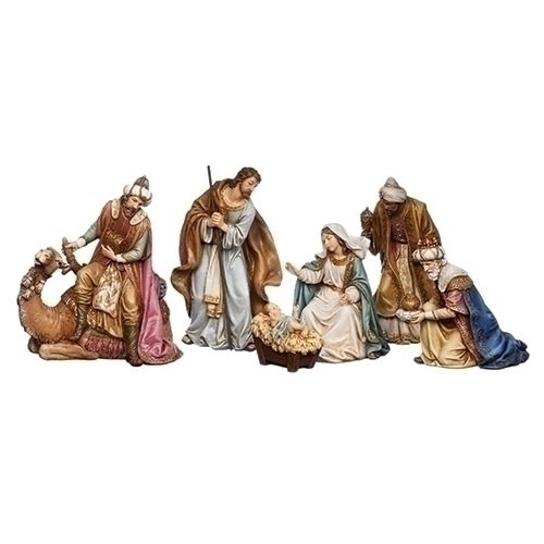 """6 Piece Nativity Set.  8"""" figures include a King sitting on a camel. Made of a resin/stone mix. Dimensions: 8""""H x 13.5""""W x 5""""D."""