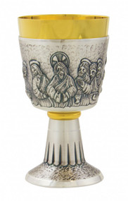 "Two tone 24K gold place chalice has the Last Supper embossing around cup. The Last supper chalice comes with a scale paten. Measurements are  6.75""H and has an 8.5 ounce capacity."