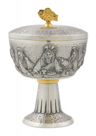 "Ciborium, P-1520, Last Supper Embossing, 7"" height, 200 hosts capacity."