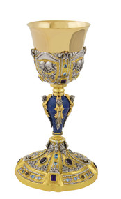 "Chalice with Amethyst Stones, All Sterling Silver with 24kt Gold Plate, 10.5"" high, 12 ounce capacity. Made in Italy. Includes chalice carrying case."