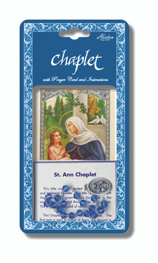 """Saint Anne Deluxe Chaplet with blue glass beads. Packaged with a Laminated Holy Card & Instruction Pamphlet. (Overall 6.5"""" x 3.5"""")"""