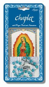 "Our Lady of Guadalupe Deluxe Chaplet with blue glass beads. Packaged with a Laminated Holy Card & Instruction Pamphlet. (Overall 6.5"" x 3.5"")"
