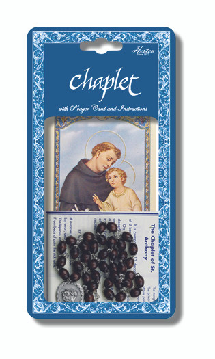 """Saint Anthony Deluxe Chaplet with Brown Wood Beads. Packaged with a Laminated Holy Card & Instruction Pamphlet. (Overall 6.5"""" x 3.5"""")"""