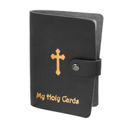 Black Gold Stamped Leatherette Card Holder. Card Holder holds up To 24 cards